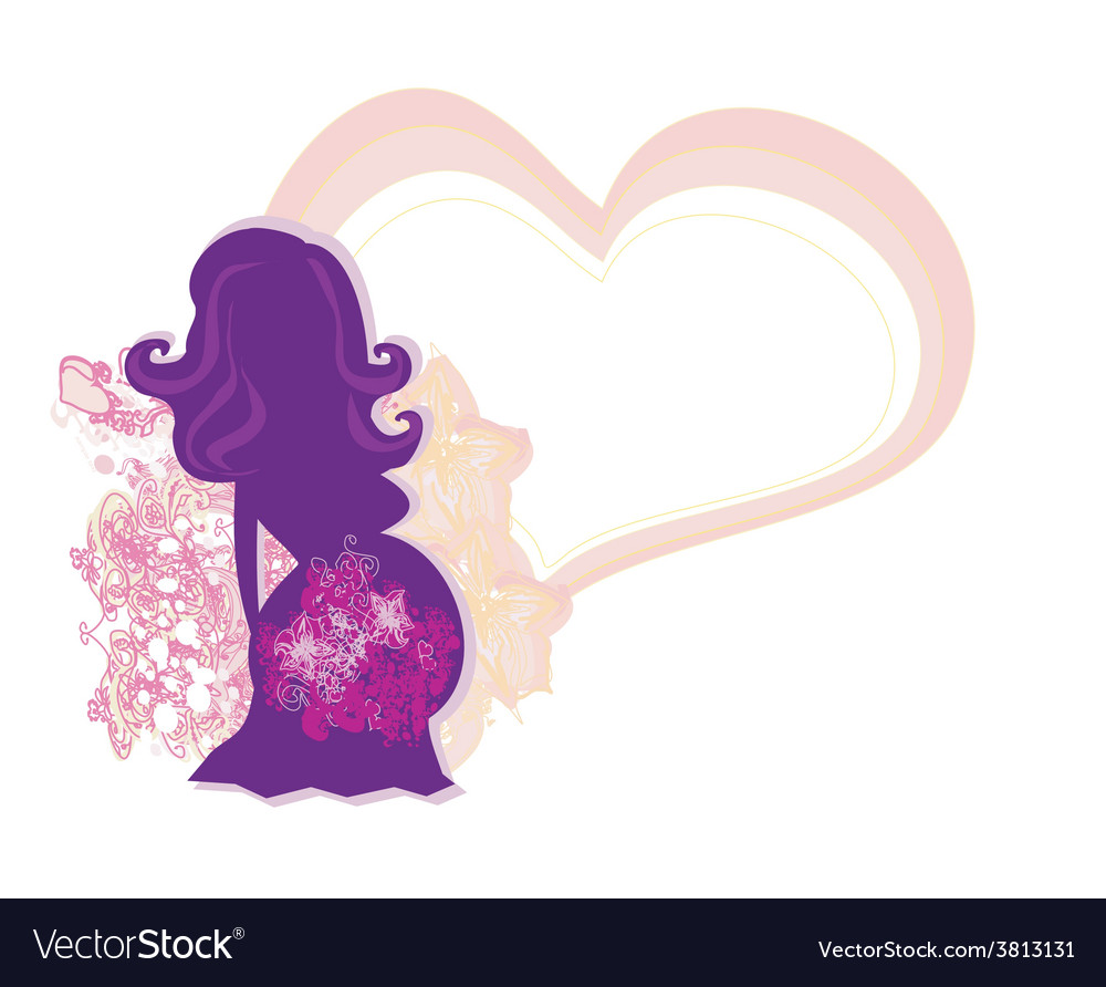 The pregnant girl in a flower abstract background vector | Price: 1 Credit (USD $1)