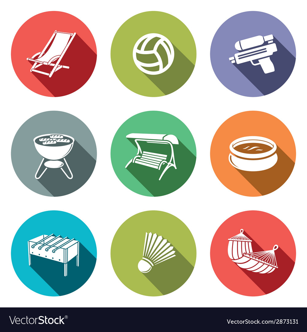 Recreation flat icon set vector | Price: 1 Credit (USD $1)