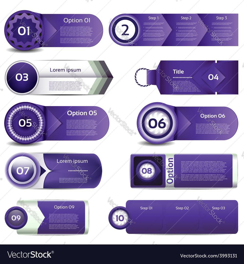 Set of violet progress version step icons eps 10 vector | Price: 3 Credit (USD $3)