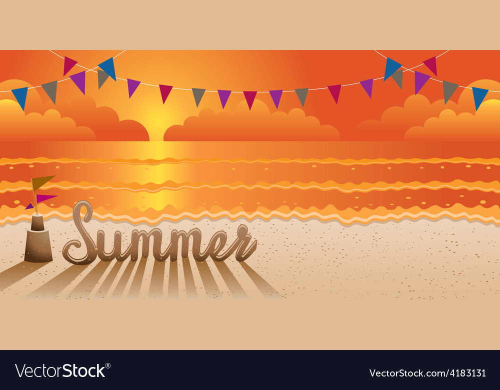 Summer text made from sand on the beach at sunset vector | Price: 3 Credit (USD $3)
