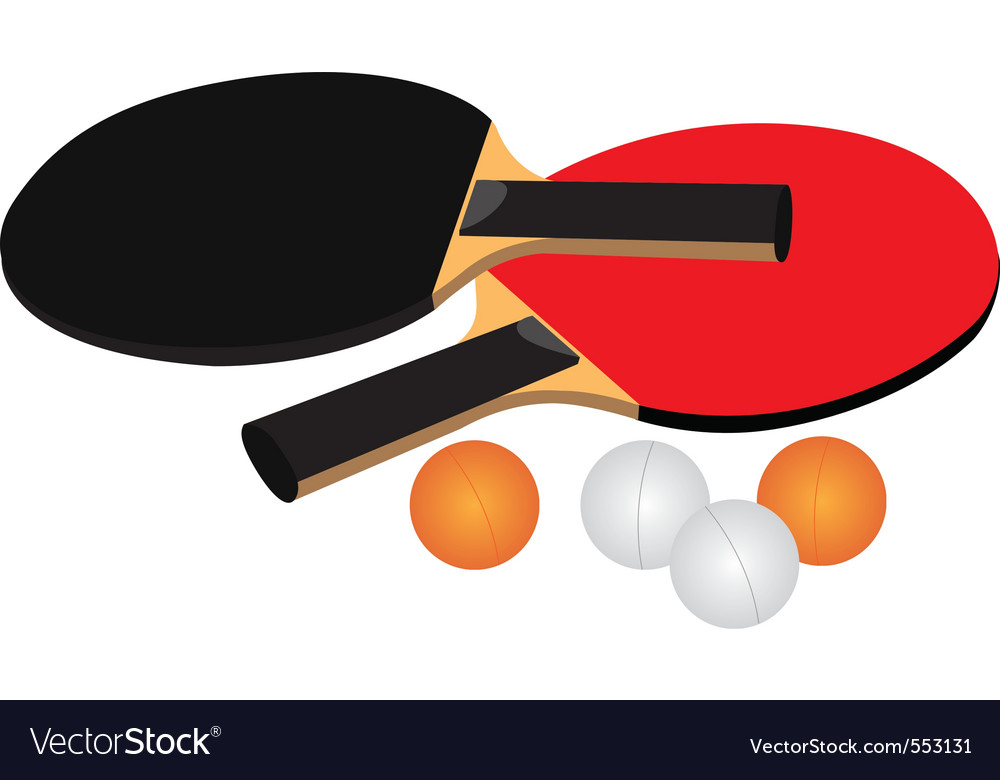Table tennis equipment black red white and orange vector | Price: 1 Credit (USD $1)