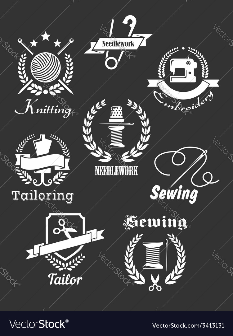 White handicraft icons on black vector | Price: 1 Credit (USD $1)