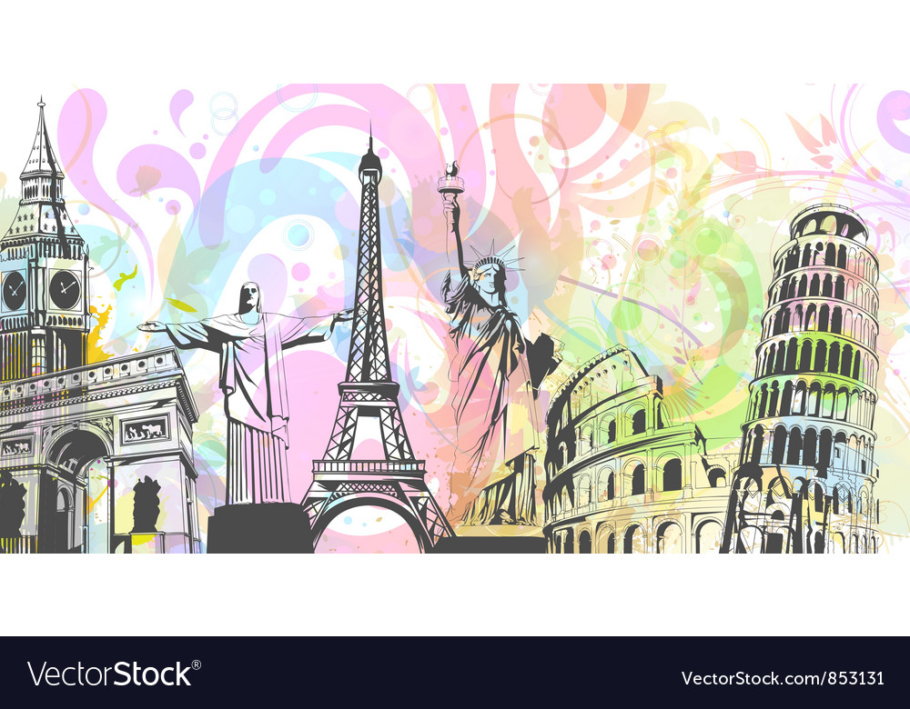 World landmark buildings vector | Price: 3 Credit (USD $3)