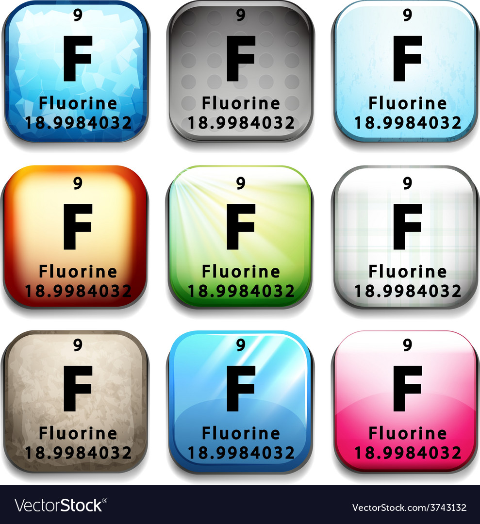 An icon showing the element flourine vector | Price: 1 Credit (USD $1)