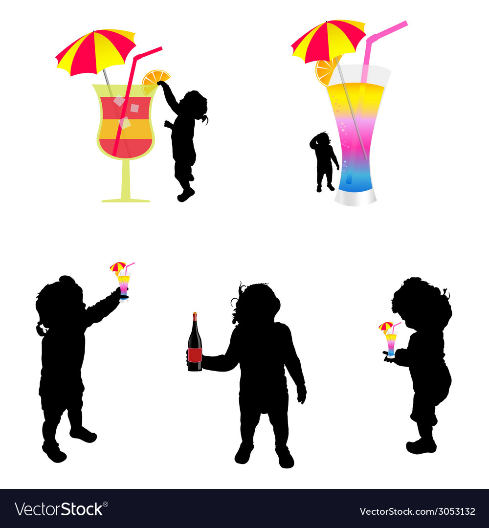 Baby silhouette with cold drink vector | Price: 1 Credit (USD $1)
