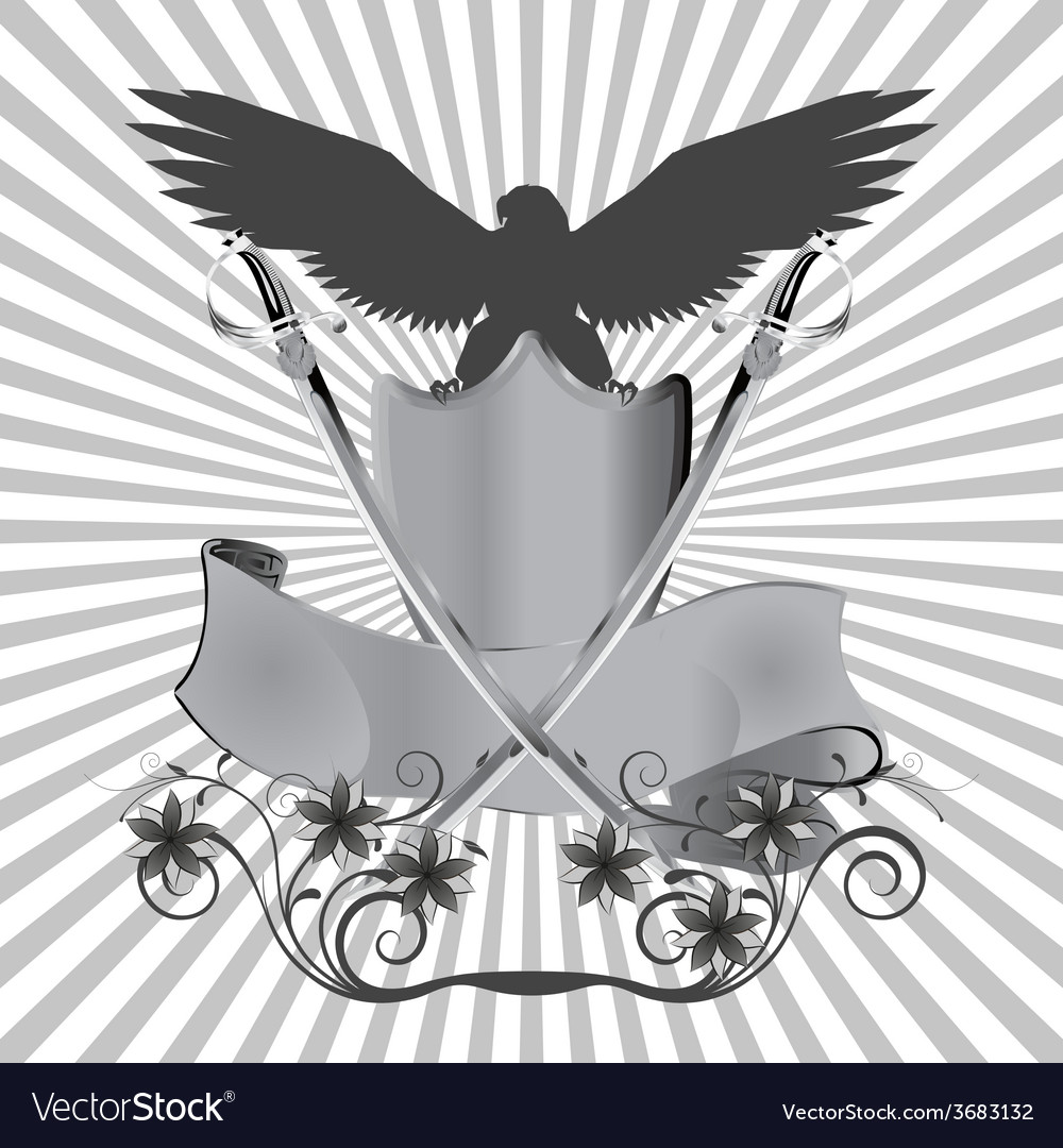 Background eagle on shield with swords and flowers vector | Price: 1 Credit (USD $1)