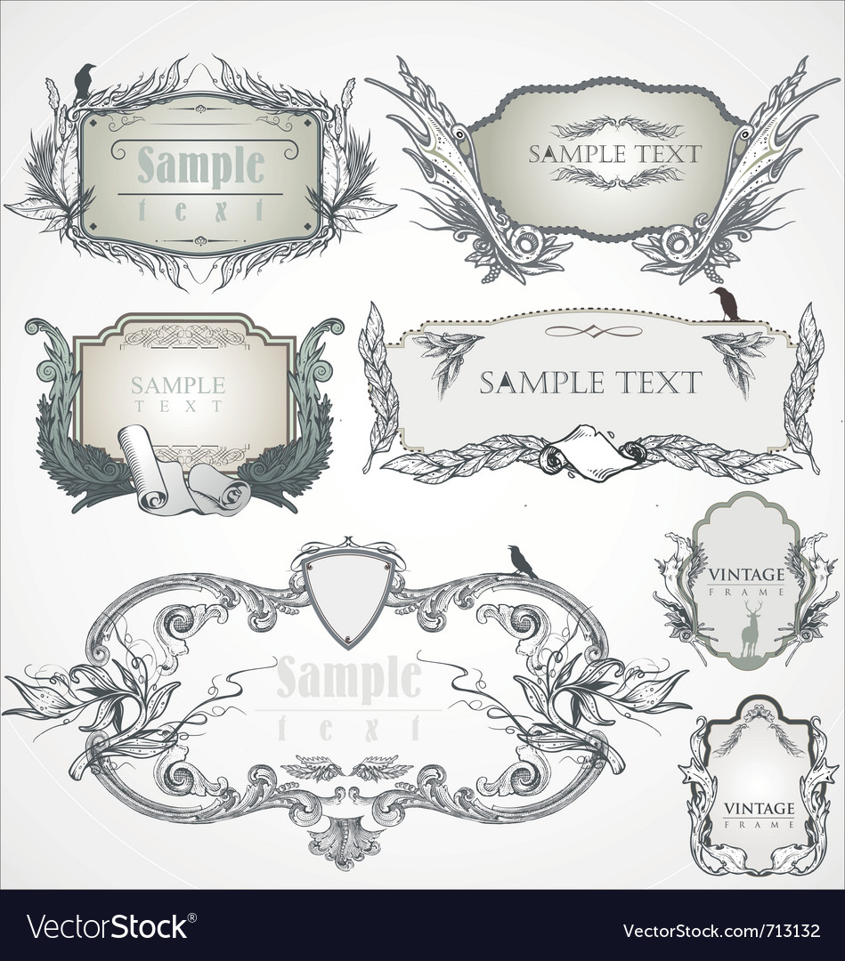Ornate vintage frame vector | Price: 1 Credit (USD $1)