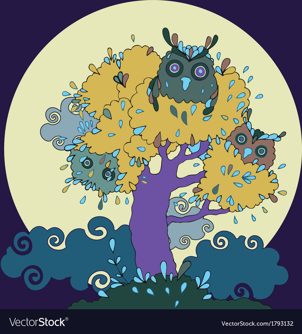 Owls in tree funny cartoon vector | Price: 1 Credit (USD $1)