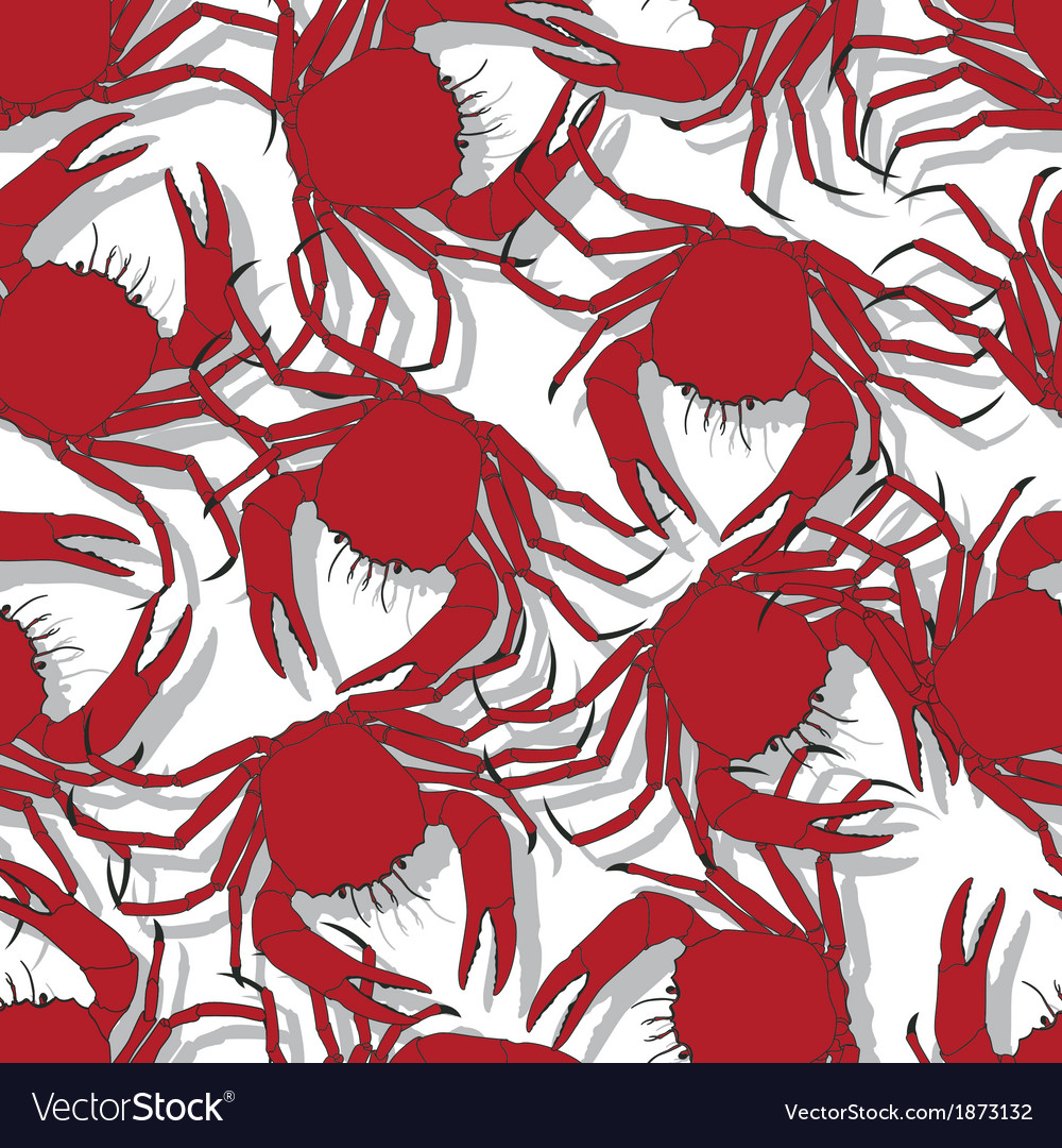 Seamless pattern background with red crabs vector | Price: 1 Credit (USD $1)