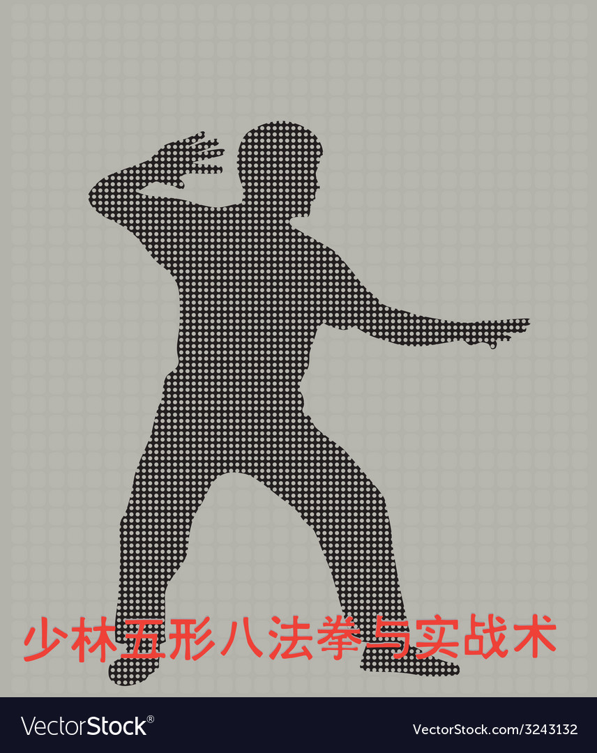 Silhouette of the man of engaged kung fu on a gray vector | Price: 1 Credit (USD $1)