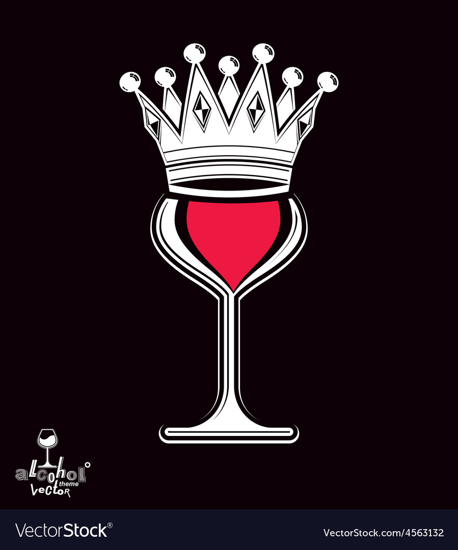 Sophisticated luxury wineglass with king crown vector | Price: 1 Credit (USD $1)