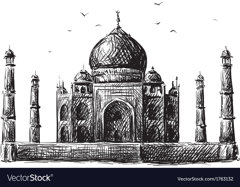Taj mahal drawing vector | Price: 1 Credit (USD $1)