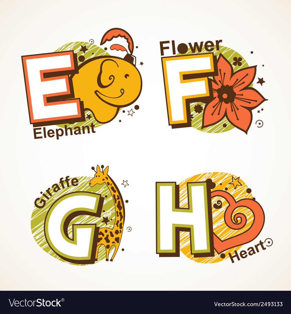 Alphabet set from e to h vector | Price: 1 Credit (USD $1)