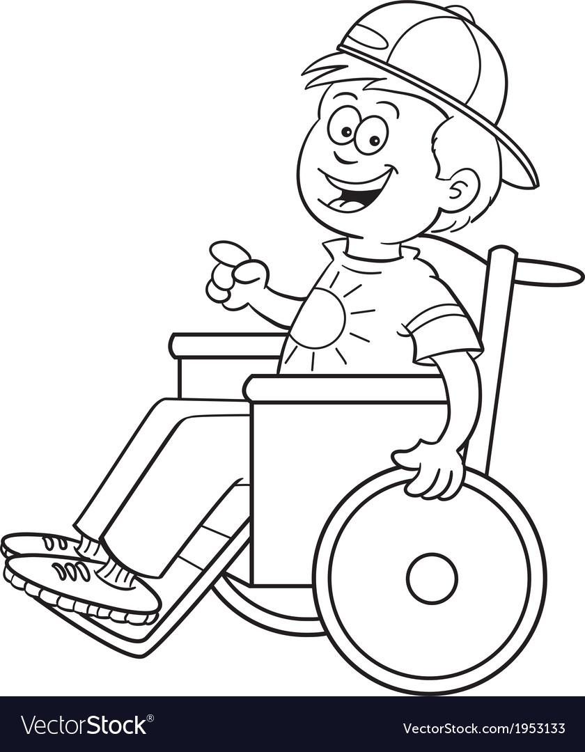 Cartoon boy in a wheelchair vector | Price: 1 Credit (USD $1)