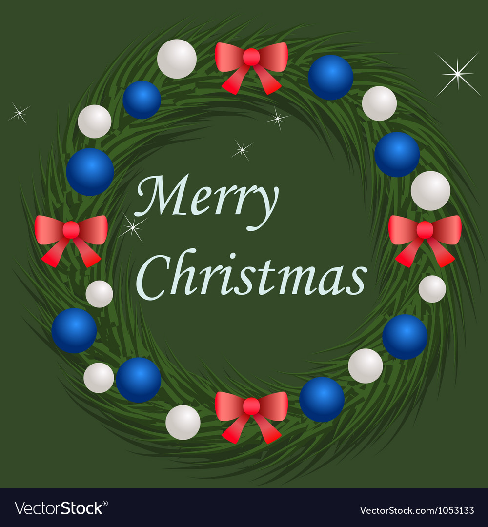 Christmas wreath with blue and silver balls vector | Price: 1 Credit (USD $1)
