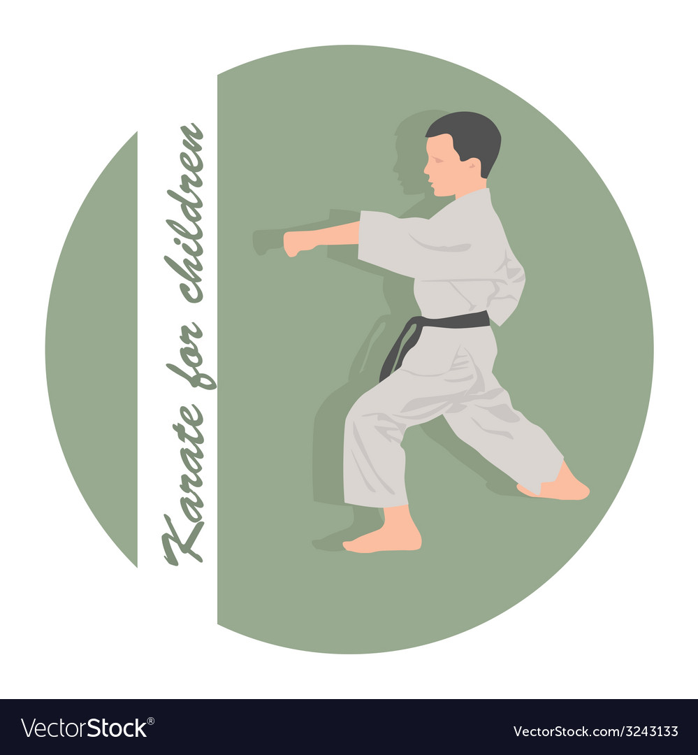 The emblem the boy is engaged in karate on a green vector | Price: 1 Credit (USD $1)