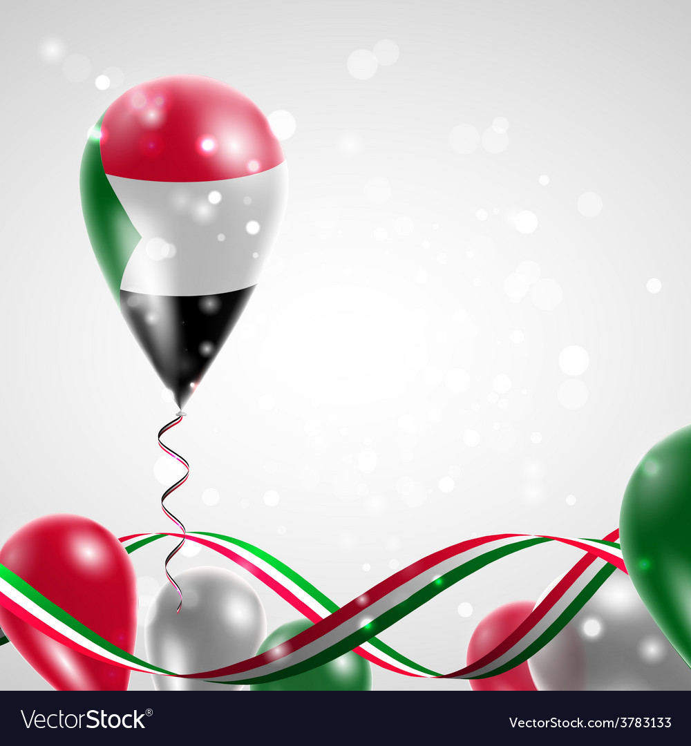 Flag of sudan on balloon vector | Price: 3 Credit (USD $3)