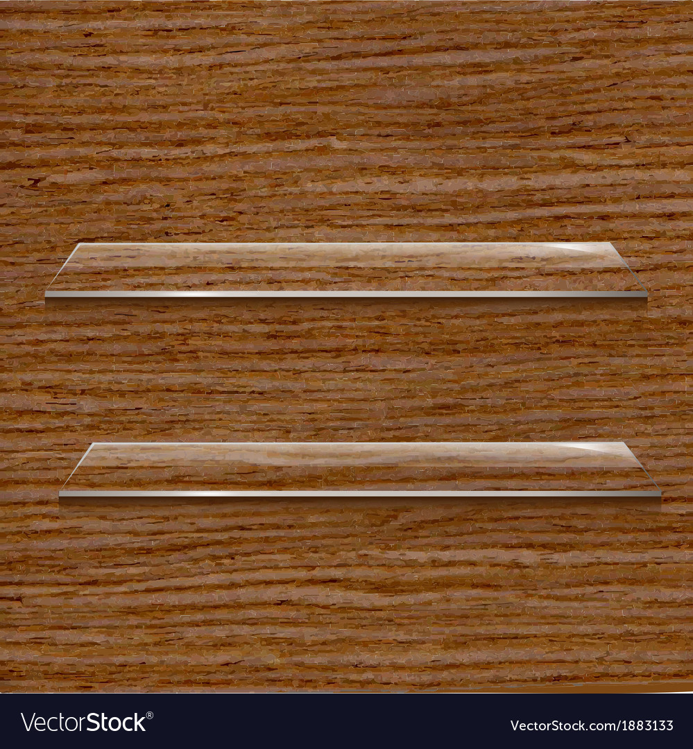 Glass shelf set on wooden background vector | Price: 1 Credit (USD $1)