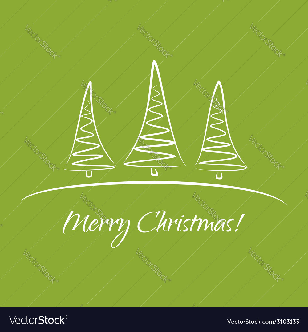 Greeting card with christmas trees vector | Price: 1 Credit (USD $1)