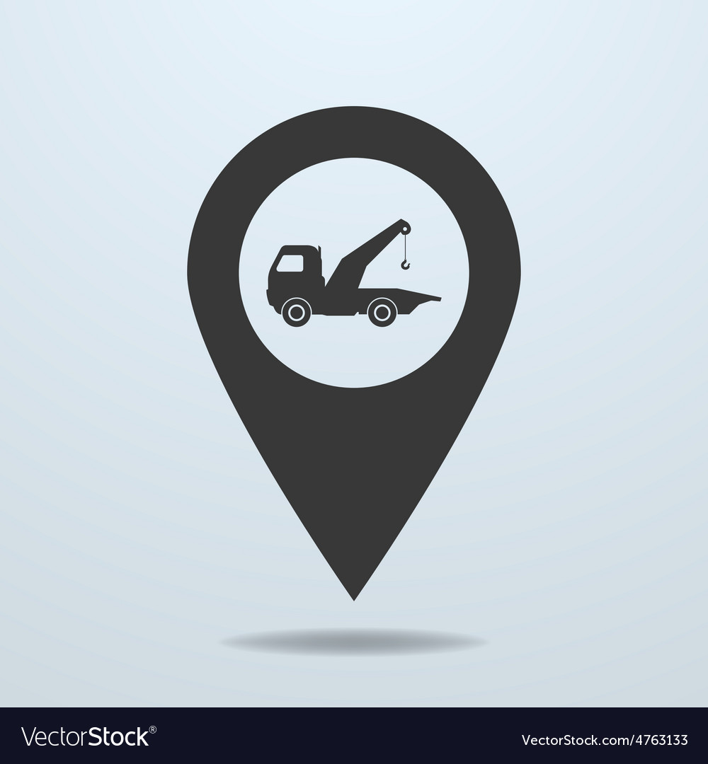 Map pointer with a wrecker symbol vector | Price: 1 Credit (USD $1)