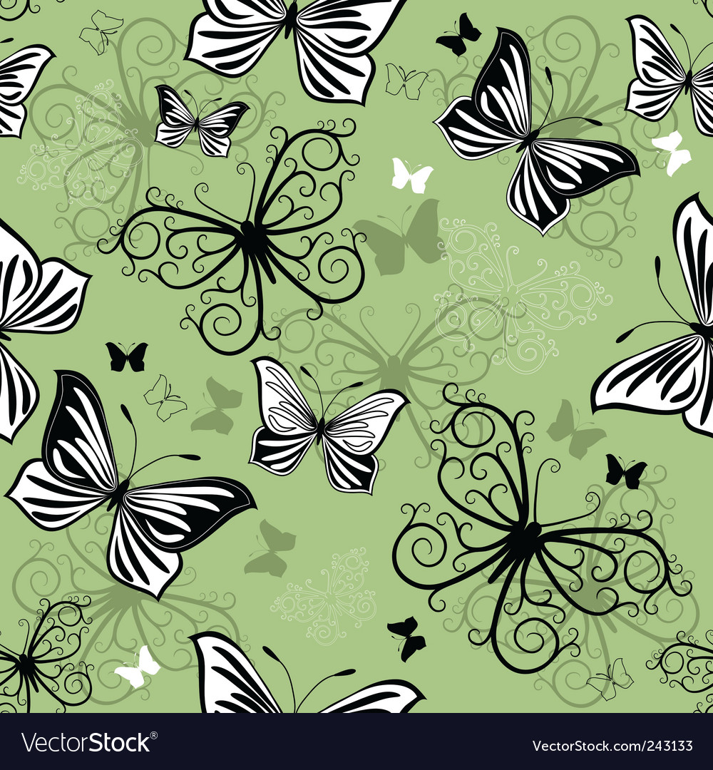 Seamless green black white pattern vector | Price: 1 Credit (USD $1)