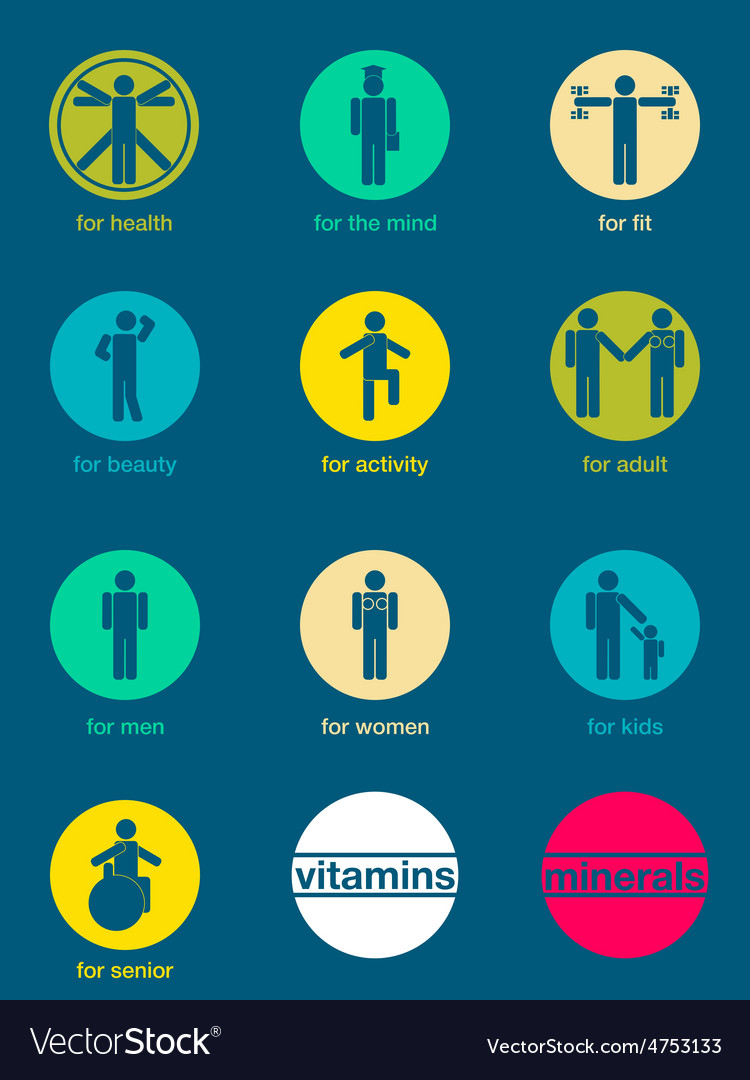 Set of icons vitamins and minerals vector | Price: 1 Credit (USD $1)