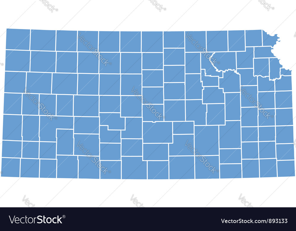 State map of kansas by counties vector | Price: 1 Credit (USD $1)