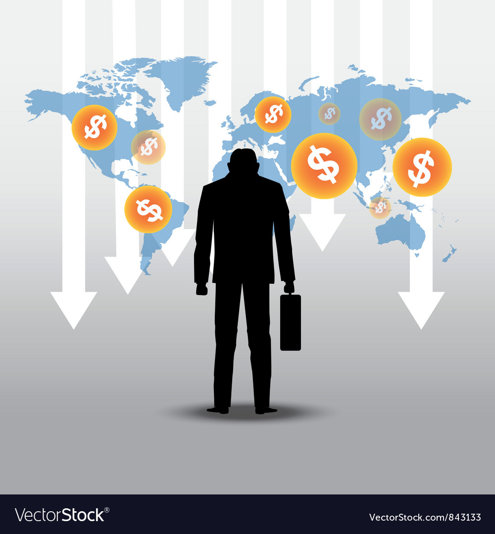 Stock market crash with businessman vector | Price: 1 Credit (USD $1)