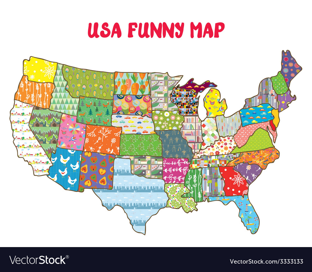 United states funny map with patterns vector | Price: 1 Credit (USD $1)