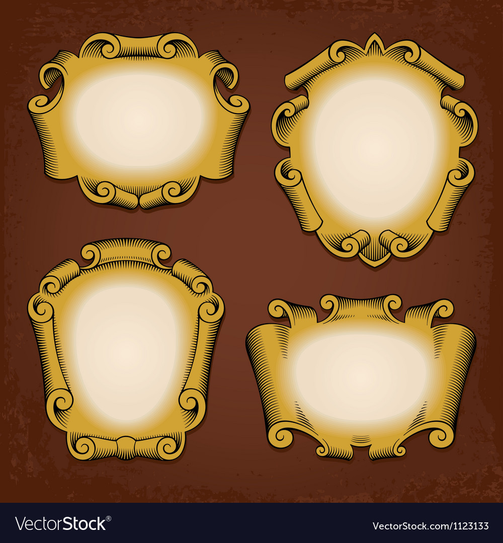 Vintage frames cartouches ribbons vector | Price: 1 Credit (USD $1)