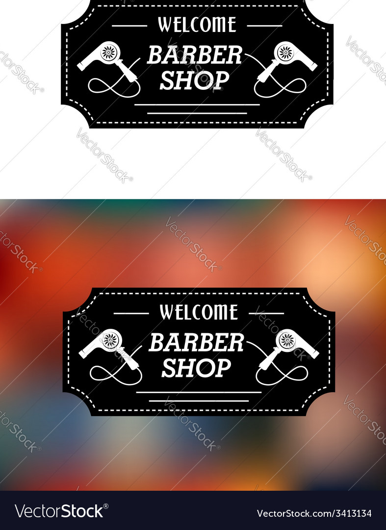 Barber shop sign with hairdryers vector | Price: 1 Credit (USD $1)