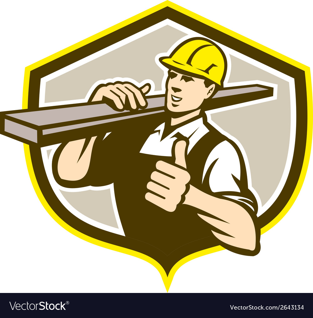 Carpenter carry lumber thumbs up shield vector | Price: 1 Credit (USD $1)