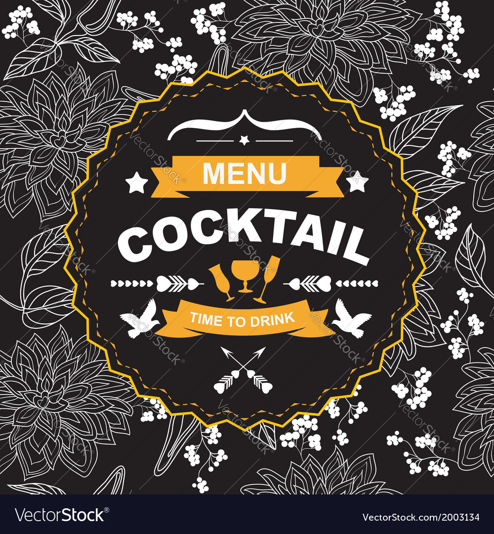 Cocktail bar menu template design vector | Price: 1 Credit (USD $1)