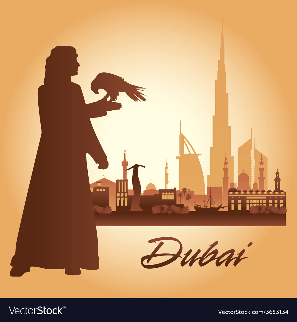 Dubai city skyline silhouette background vector   Price: 1 Credit (USD $1)