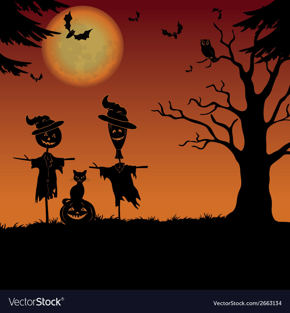 Halloween landscape scarecrows and pumpkin vector | Price: 1 Credit (USD $1)