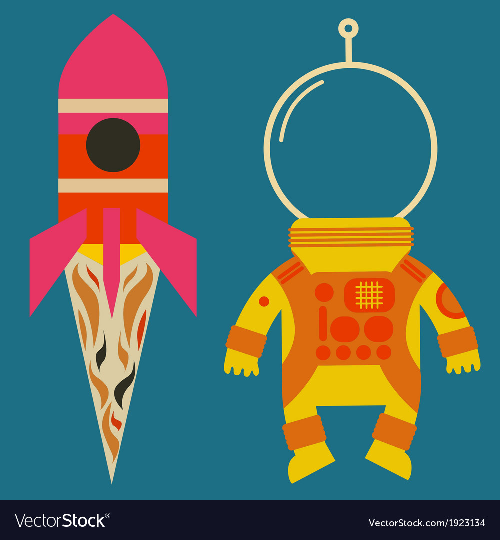 Rocket with astronaut costume vector | Price: 1 Credit (USD $1)