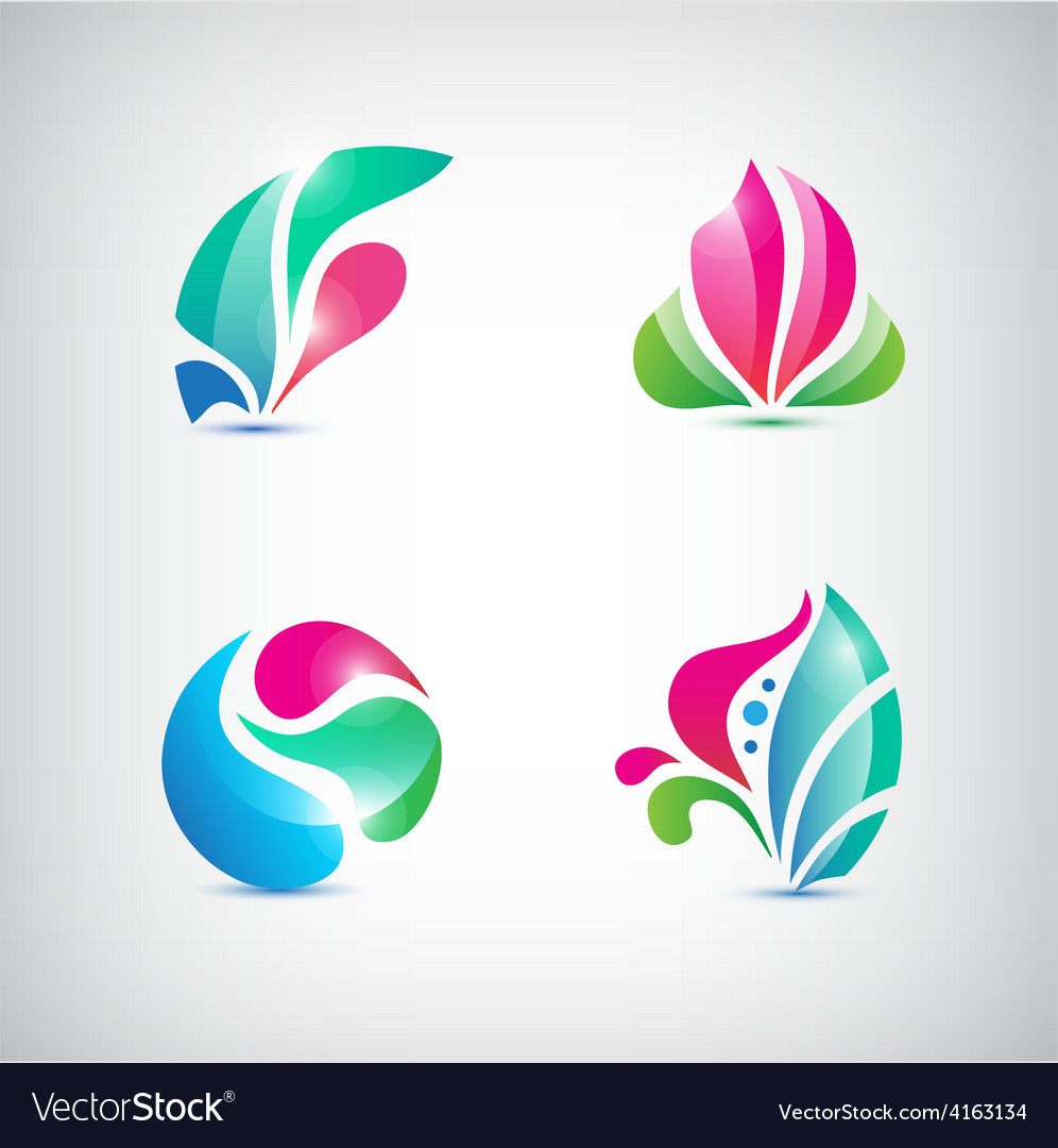 Set of abstract floral icons vector | Price: 1 Credit (USD $1)