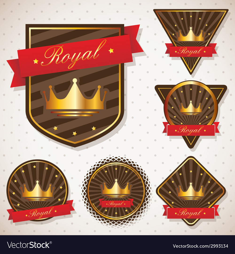 Set of royal labels with retro vintage styled vector | Price: 1 Credit (USD $1)