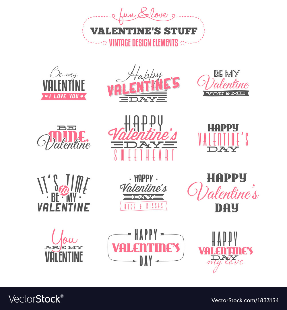 Set of vintage valentines day design elements vector | Price: 1 Credit (USD $1)