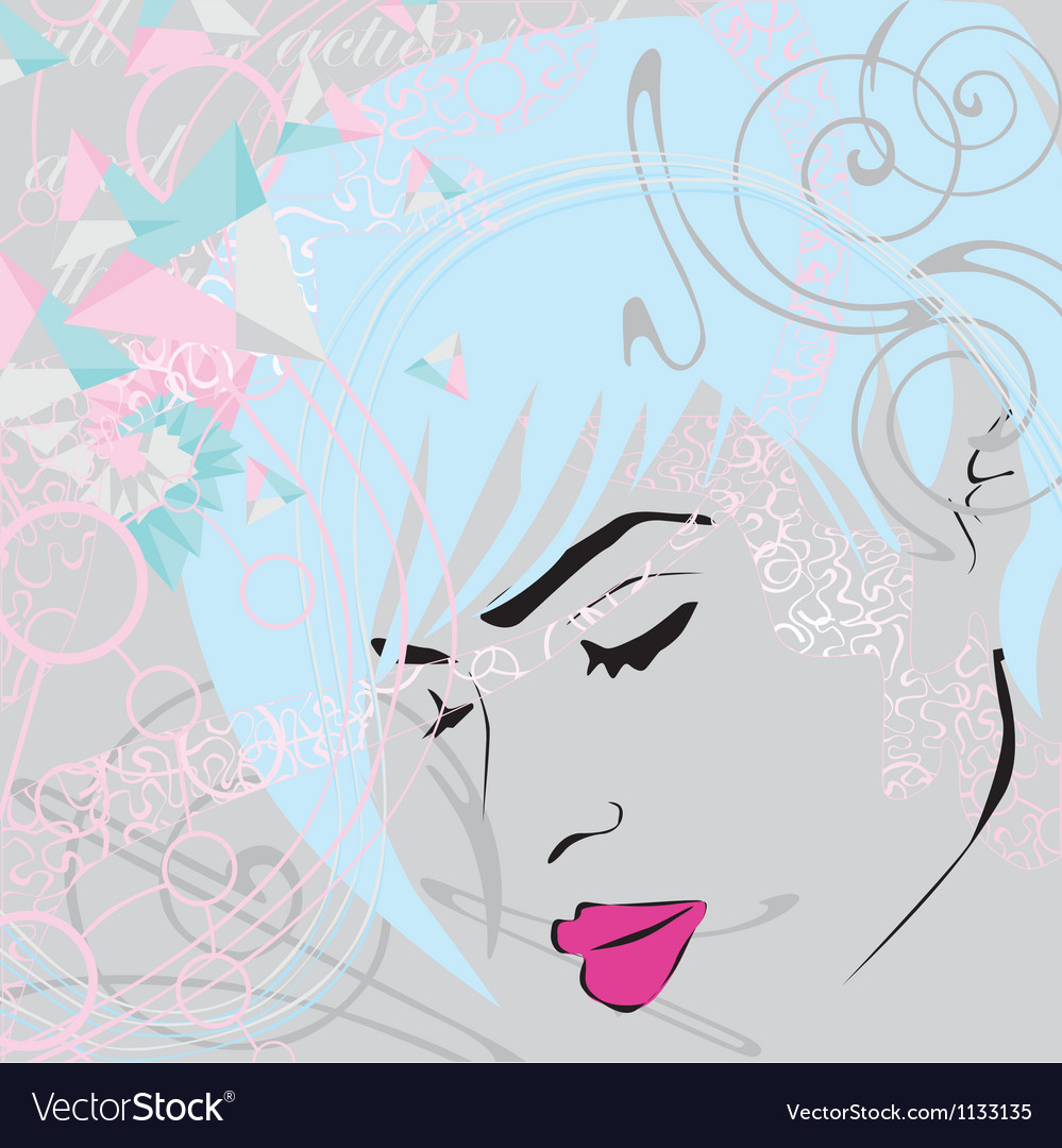 Abstract background with girls face vector | Price: 1 Credit (USD $1)