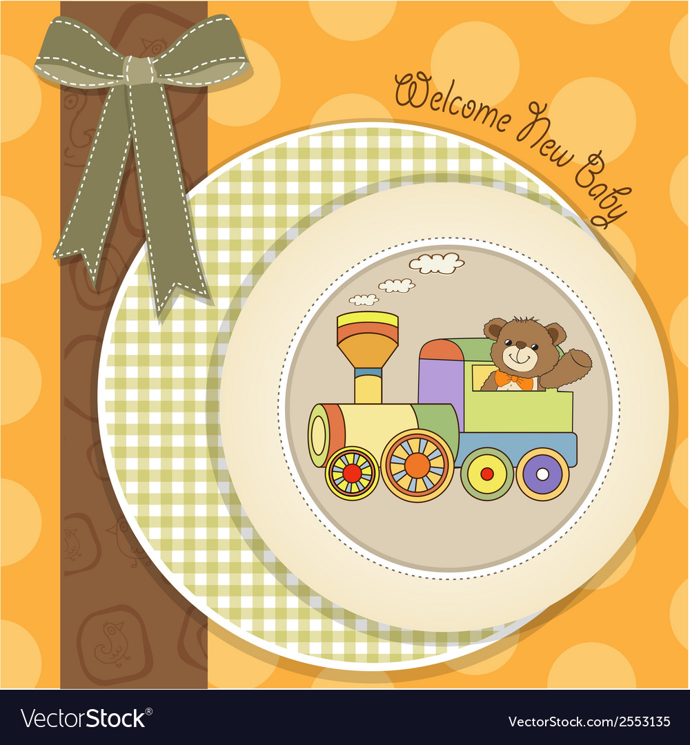 Baby shower card with teddy bear and train toy vector | Price: 1 Credit (USD $1)