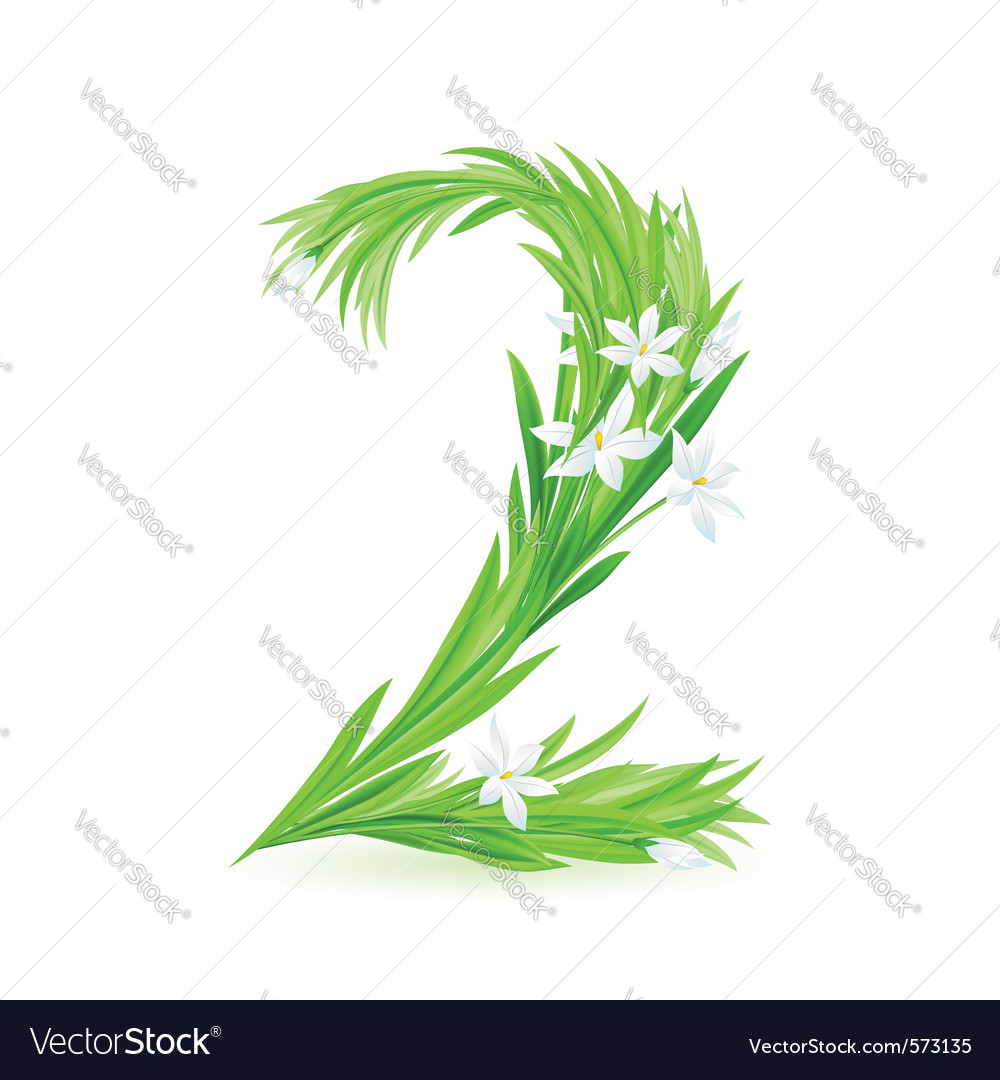 Grass letters number 2 vector | Price: 1 Credit (USD $1)