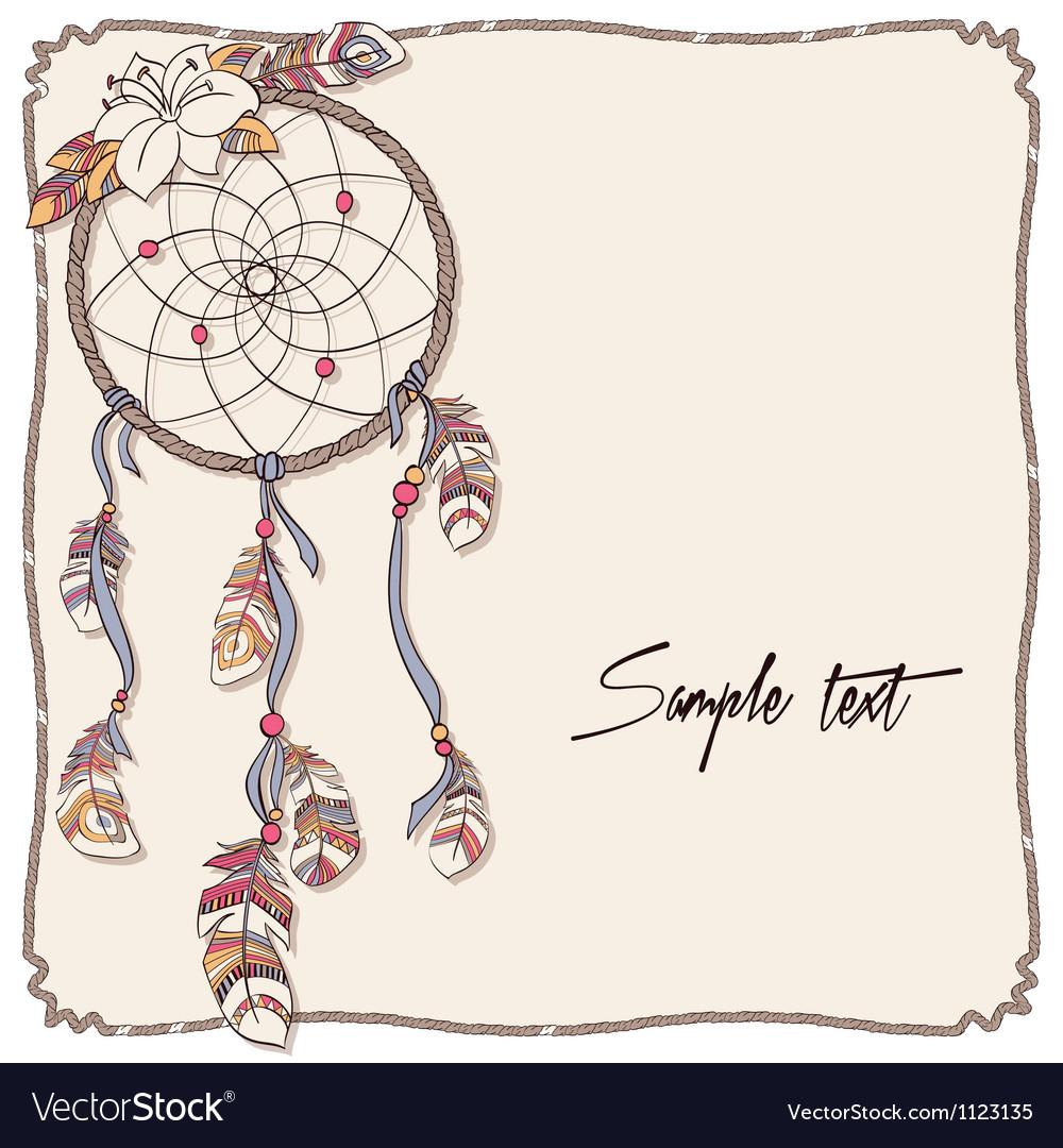 Native american indian dreamcatcher background vector | Price: 1 Credit (USD $1)