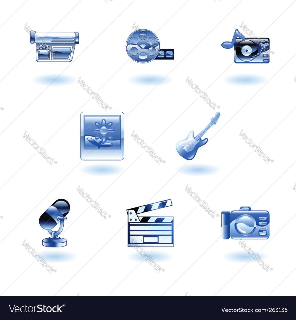 Shiny media icons vector | Price: 1 Credit (USD $1)