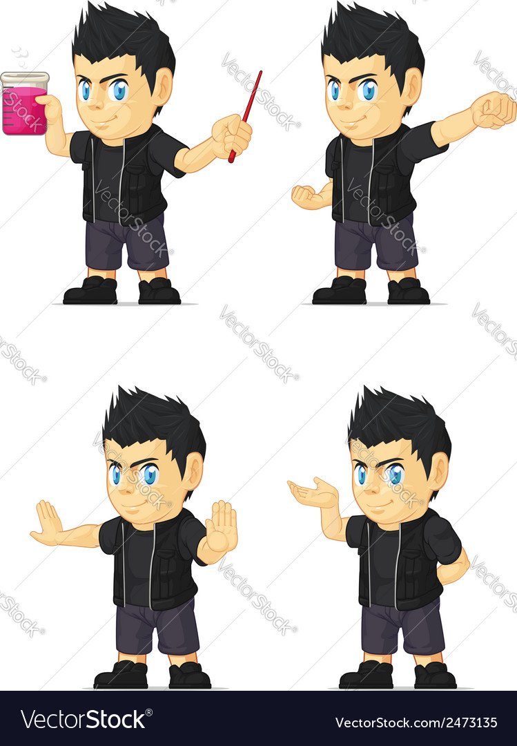 Spiky rocker boy customizable mascot 12 vector | Price: 1 Credit (USD $1)