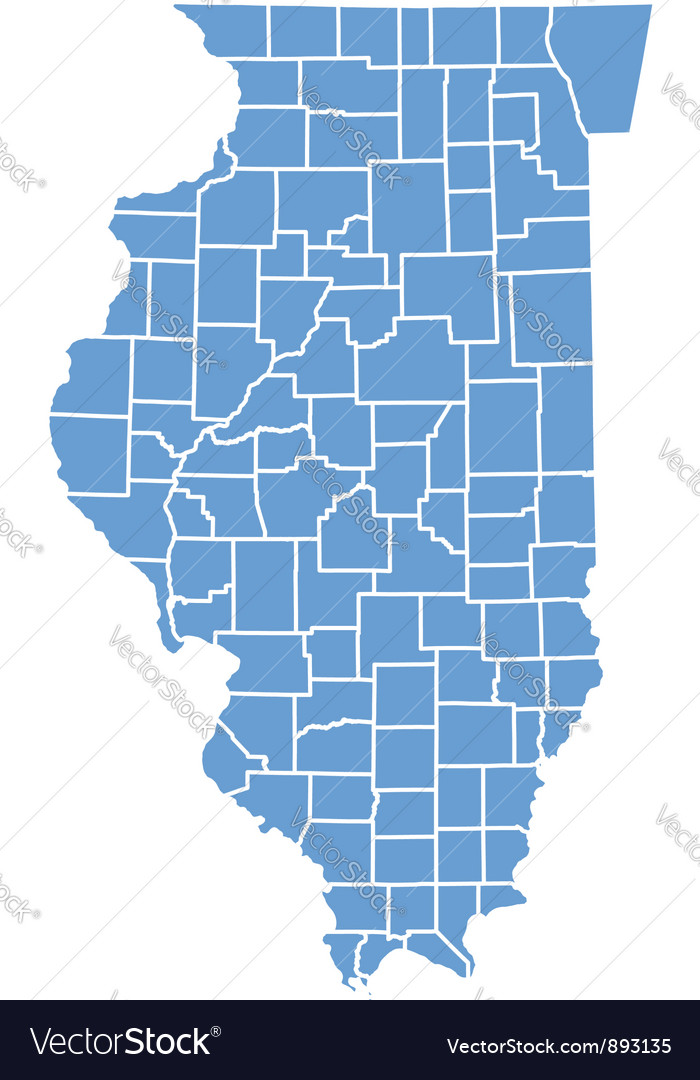State map of illinois by counties vector | Price: 1 Credit (USD $1)