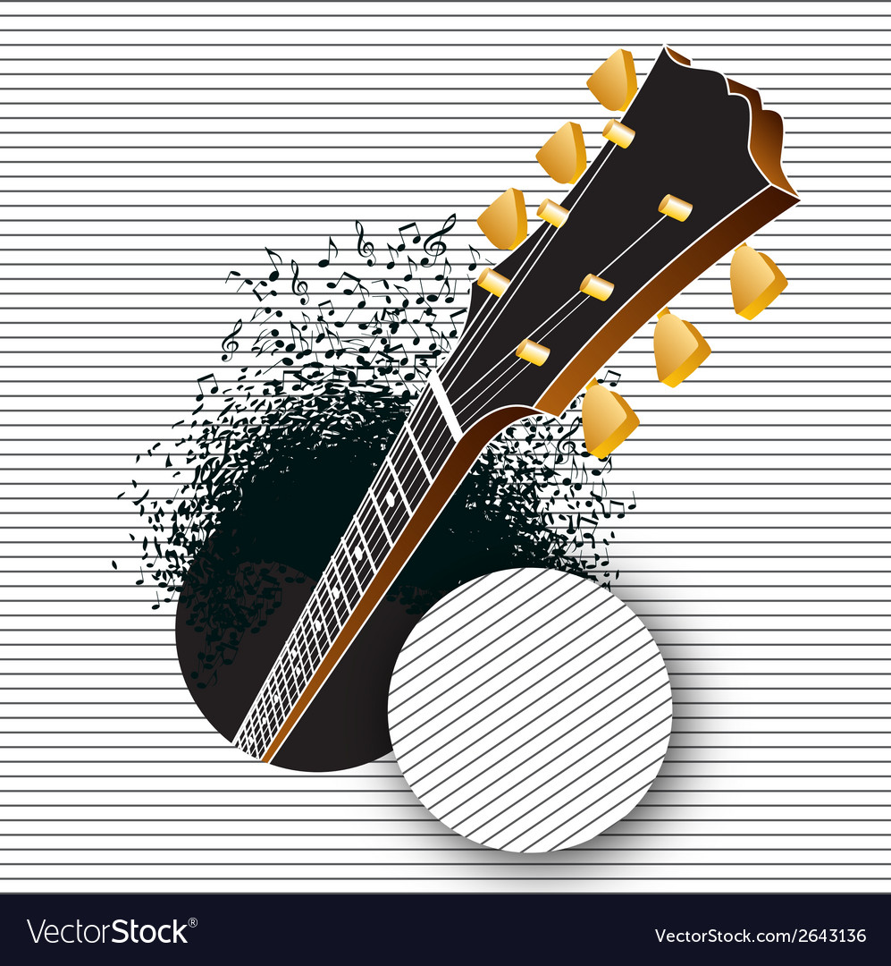 A guitar pops out of a hole vector | Price: 1 Credit (USD $1)