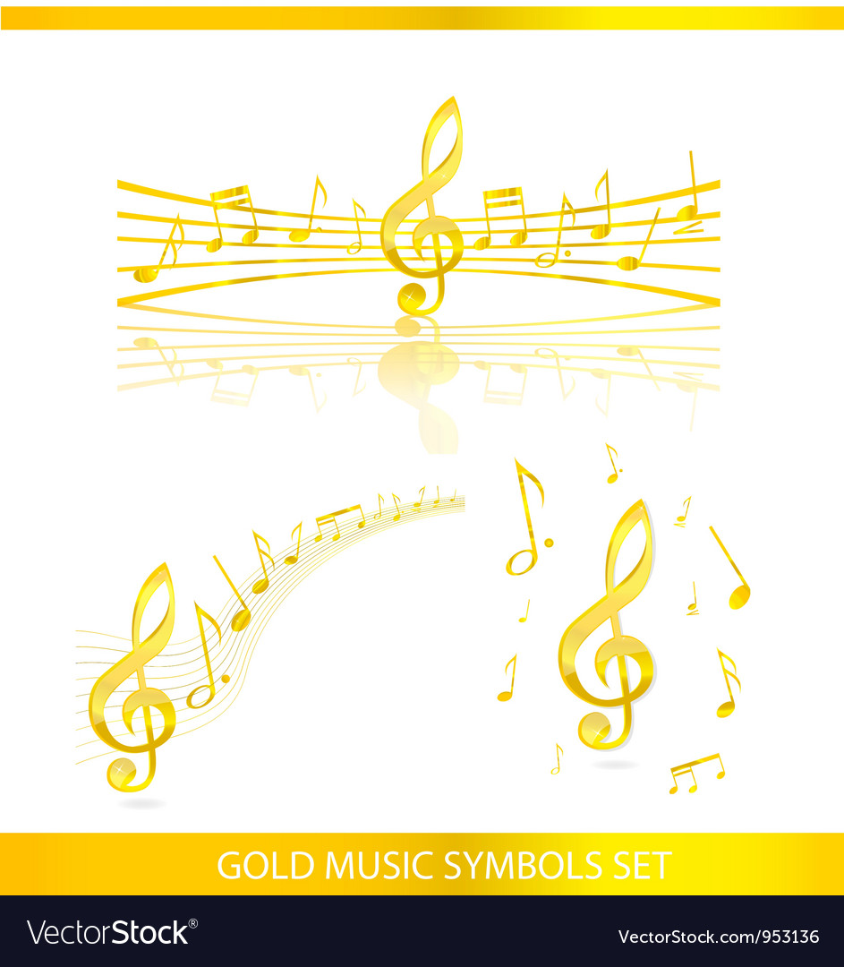 Abstract music symbols set gold color vector | Price: 1 Credit (USD $1)