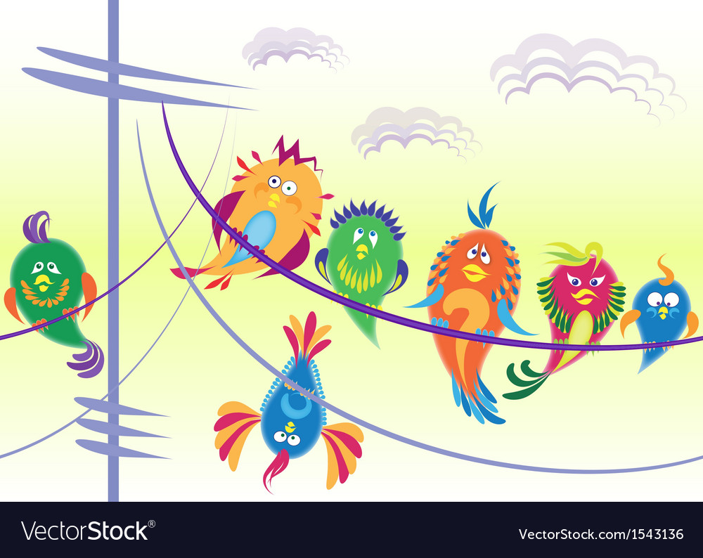 Birds sitting on wires vector | Price: 1 Credit (USD $1)