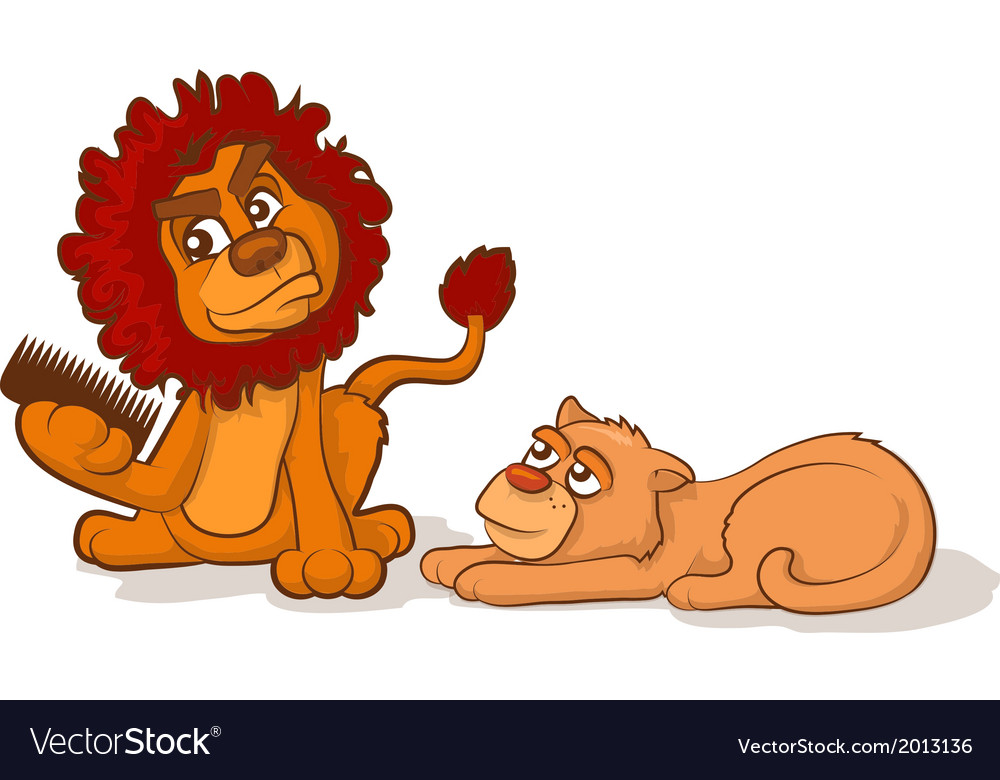 Combing a lions mane vector | Price: 1 Credit (USD $1)
